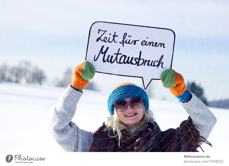 Jule | Zeit für einen Mutausbruch Mensch Natur Jugendliche Junge Frau Landschaft Winter 18-30 Jahre Erwachsene Umwelt Schnee feminin Stil Glück Schriftzeichen