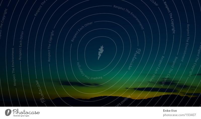 sun set Natur schön Himmel grün blau ruhig schwarz gelb Ferne dunkel Erholung Berge u. Gebirge träumen Landschaft Luft Stimmung