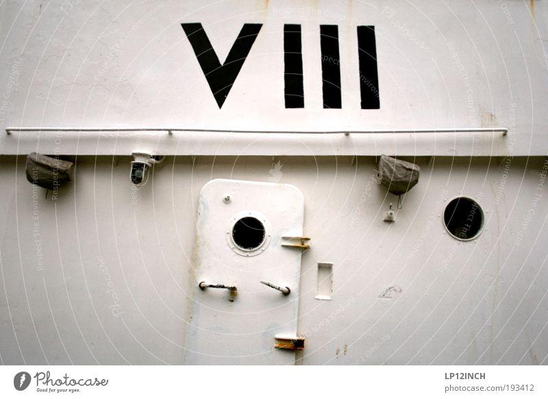 VIII weiß Wasserfahrzeug Tür Kraft planen Schriftzeichen Sicherheit Ziffern & Zahlen Schutz geheimnisvoll Zeichen Schifffahrt Maschine Wachsamkeit 8 Kreuzfahrt