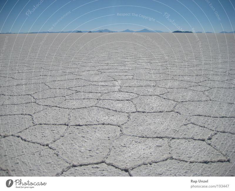 Salar de Uyuni Himmel Natur Wasser weiß blau Pflanze ruhig Ferne kalt Freiheit Landschaft Erde Horizont Klima Urelemente Wüste
