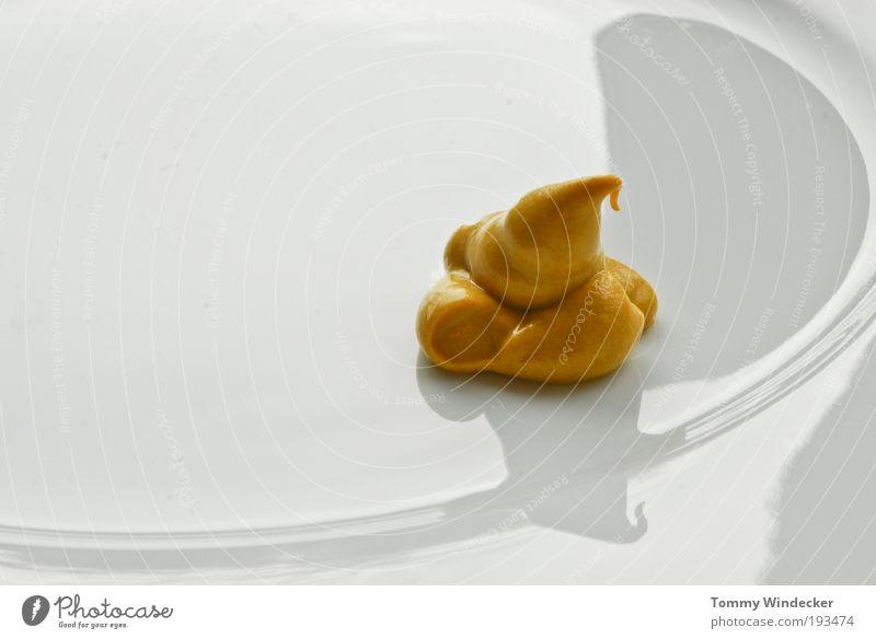 Frühjahrsdiät weiß gelb glänzend Lebensmittel Ernährung Scharfer Geschmack Geschirr Teller Textfreiraum links Keramik Porzellan Saucen Schatten Senf