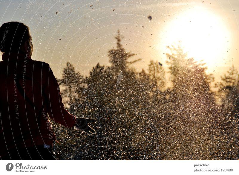 Schneeee!!! Freude Glück Leben Winter Winterurlaub feminin 1 Mensch Natur Wolkenloser Himmel Wetter Schönes Wetter Eis Frost Wald Jacke Handschuhe Erholung