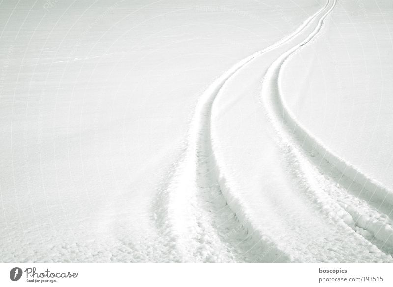 weiss weiß Winter Schnee Landschaft Umwelt Wege & Pfade Feld Autofahren Reifenspuren Strukturen & Formen Spuren Natur