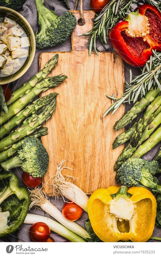 Spargel und Gemüse Zutaten Gesunde Ernährung Foodfotografie Essen Leben Frühling Gesundheit Stil Lebensmittel Design Tisch Kräuter & Gewürze Küche Bioprodukte