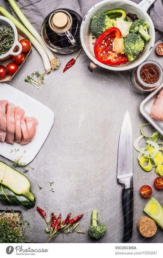 Gesunde Lebensmittel Hintergrund Fleisch Gemüse Salat Salatbeilage Kräuter & Gewürze Öl Ernährung Mittagessen Abendessen Büffet Brunch Festessen Bioprodukte