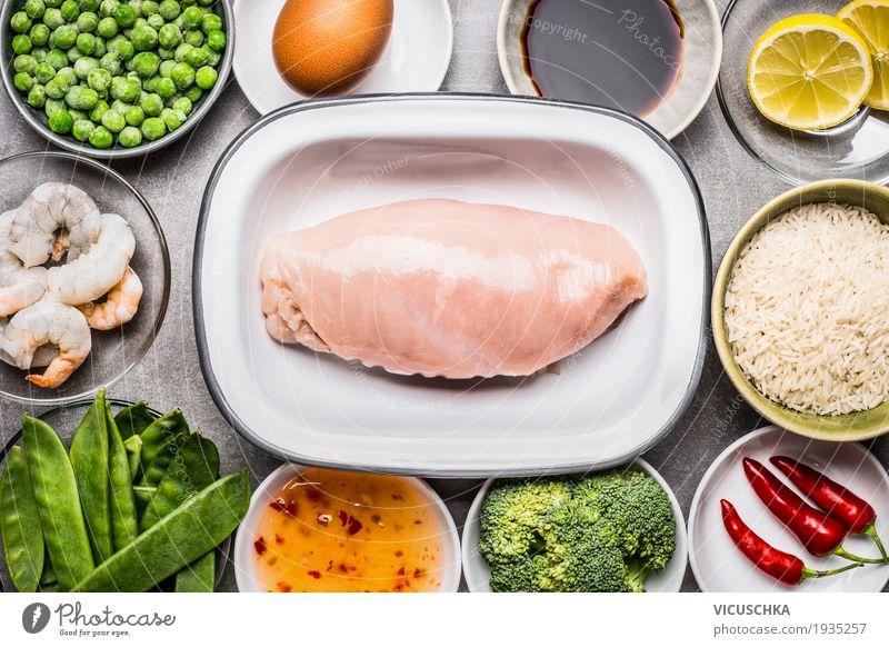 Hähnchenbrustfilet mit Zutaten für gesundes Kochen Gesunde Ernährung Leben Gesundheit Stil Lebensmittel Design Kräuter & Gewürze Küche Gemüse Getreide