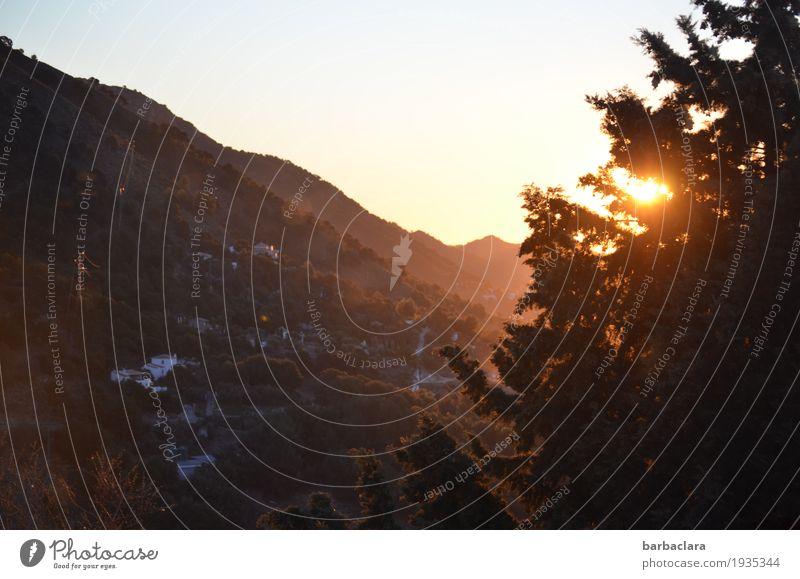 Morgen in der Axarquia Himmel Natur Ferien & Urlaub & Reisen Sonne Baum Landschaft Haus Ferne Winter Berge u. Gebirge Umwelt Stimmung leuchten Beginn Klima