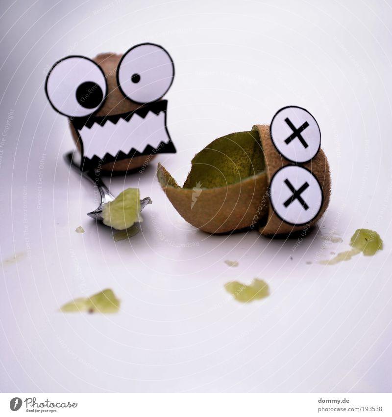 kill kiwi Lebensmittel Frucht Ernährung Aggression Kiwi Löffel töten Mord kannibalisch kannibale Mund Auge lustig Papier Fleck Blut fertig freaky verrückt Oval