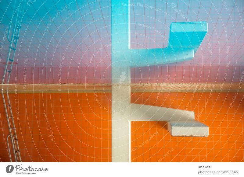 Sprungblock blau Wasser Freude Farbe Sport Architektur springen Stil orange Angst Freizeit & Hobby Beton Design Fröhlichkeit Perspektive Lifestyle