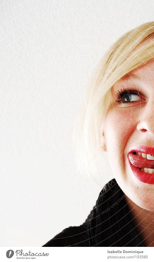 Halbfrech Mensch Jugendliche weiß rot Freude Gesicht feminin Mund blond Erwachsene frei frisch Fröhlichkeit Frau Neugier Interesse
