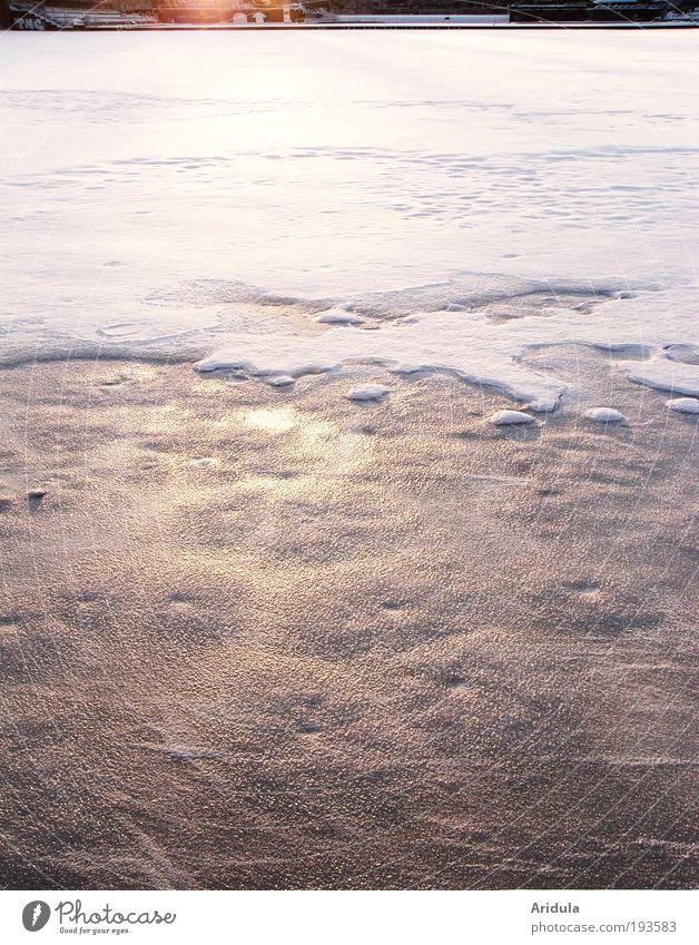 snow on the water Wasser blau weiß Sonne Winter Einsamkeit gelb Schnee Landschaft träumen Stimmung See Park Eis Zufriedenheit gold