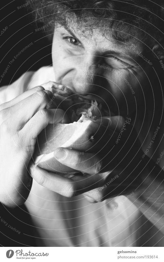 Pomelo Polemo Mensch Jugendliche Hand Gesicht Leben Ernährung Essen Mund Frucht maskulin einzigartig Aggression Mann Junger Mann