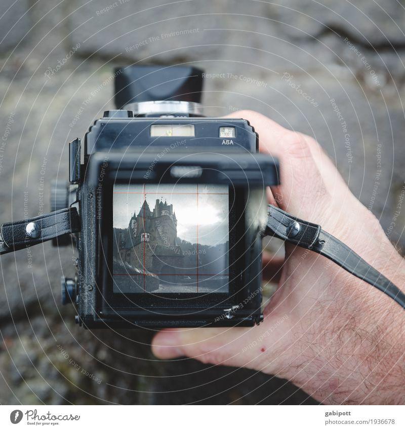 Burg Eltz fotografieren Burg oder Schloss alt ästhetisch retro Design einzigartig Leidenschaft Nostalgie Perspektive analog Fotokamera Rollfilm Sucher