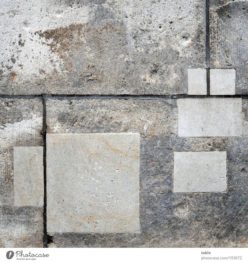 Flickwerk alt Haus Wand Stil grau Stein Mauer Sand Zeit ästhetisch Baustelle Vergänglichkeit einzigartig Konzentration Handwerk Arbeit & Erwerbstätigkeit
