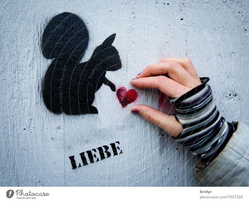 ...kann man nur schenken feminin Frau Erwachsene Hand 1 Mensch Mauer Wand Handschuhe Eichhörnchen Tier Schriftzeichen Graffiti Herz berühren niedlich positiv