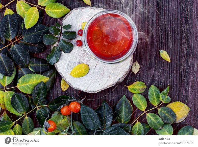 Tasse heißen Tee auf einer Holzoberfläche unter den Blättern Frucht Frühstück Vegetarische Ernährung Getränk Saft Becher Sommer Blatt Glas Essen frisch