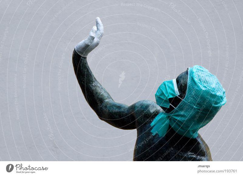 Lasst mich Arzt, ich bin durch Bewegung Kopf Metall Arme außergewöhnlich Sauberkeit skurril Statue Skulptur Handschuhe gestikulieren Mundschutz Kunstwerk