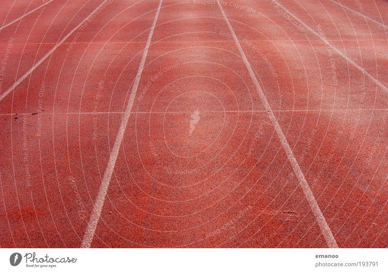 lauf weg gerade rot Ferne Sport Bewegung Linie laufen Beginn Geschwindigkeit Ziel Rennbahn Sportler gerade Bahn Stadion Joggen Gummi