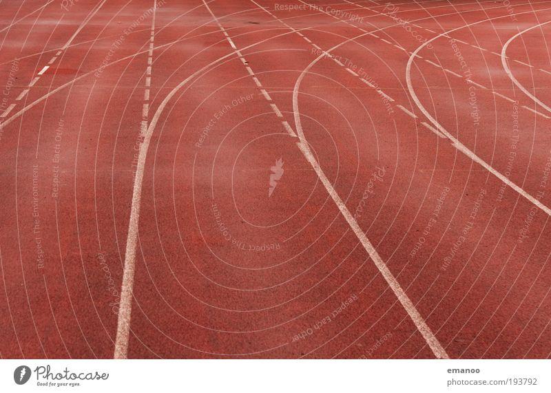 lauf weg gerade gebogen Sport Leichtathletik Sportler Erfolg Verlierer Joggen Sportstätten Stadion Rennbahn Bewegung laufen Bahn Linie Kurve Bogen Fluchtpunkt