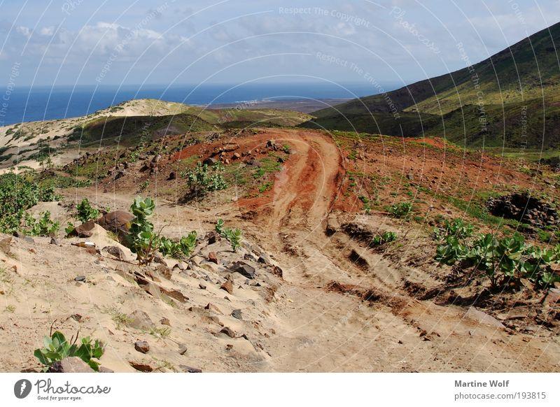 der Weg Natur Ferien & Urlaub & Reisen Meer Landschaft Ferne Freiheit Sand Horizont Insel Hügel Spuren Afrika entdecken Aktion São Vicente Cabo Verde