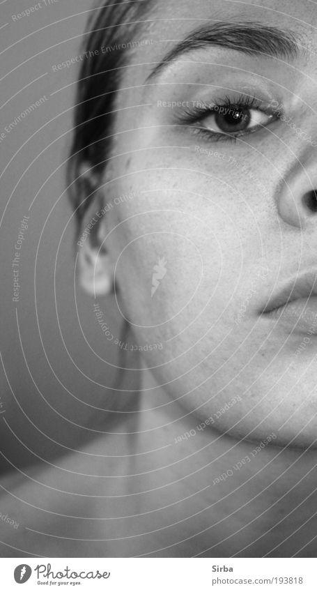 Ein Blick zurück Mensch Jugendliche Einsamkeit ruhig Gesicht feminin Gefühle Kopf Denken träumen ästhetisch brünett Junger Mann Porträt