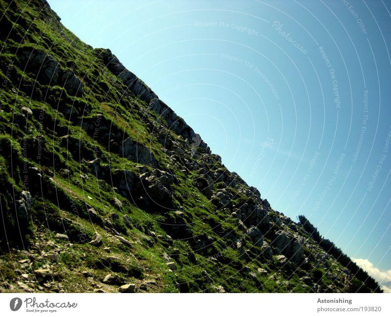 Steilhang Himmel Natur blau grün Pflanze Sommer Umwelt Landschaft Wiese Berge u. Gebirge Wärme Freiheit Gras Erde Wetter gehen