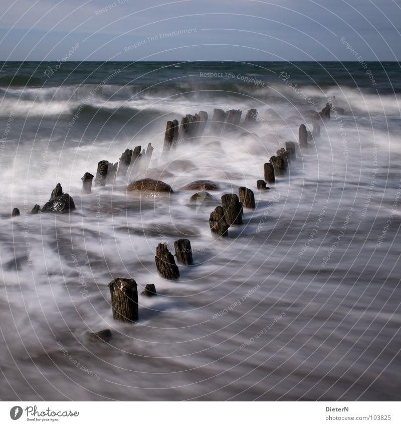 Wellenbrecher Natur Wasser Himmel Meer blau Strand Freiheit Landschaft braun Wind Wetter Horizont weich Sturm Ostsee