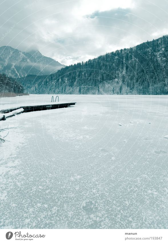 Jänner Erholung Ferien & Urlaub & Reisen Tourismus Ausflug Winterurlaub Berge u. Gebirge Steg Natur Landschaft Wasser Eis Frost Schnee Wald Felsen Alpen