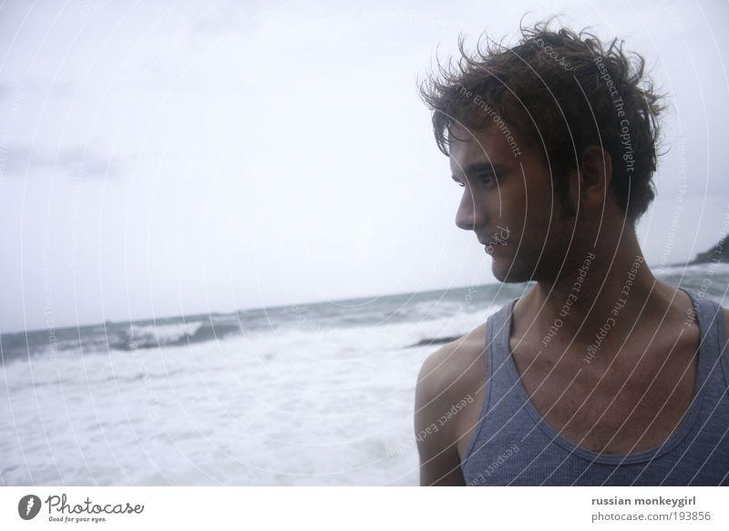 livornischer christopher maskulin Junger Mann Jugendliche 18-30 Jahre Erwachsene Natur Himmel schlechtes Wetter Wind Strand Meer Adria brünett blond kurzhaarig