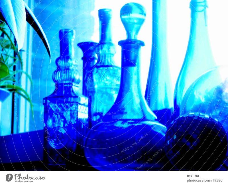 Vasen blau Glas Dinge Verschiedenheit Vase