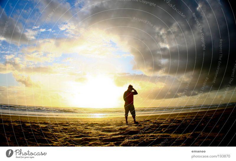 summer evening Mensch Natur Sonne Ferien & Urlaub & Reisen Meer Sommer Strand Freude Wolken Erholung Landschaft Freiheit Sand Wärme Küste Wetter
