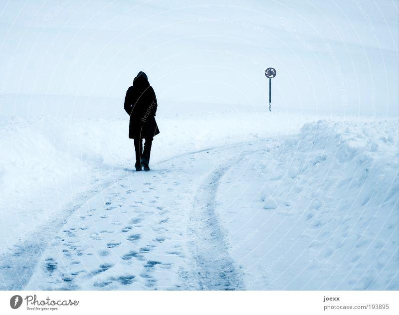 Kreisverkehr Frau Erwachsene 1 Mensch Winter Eis Frost Schnee Hügel Verkehrswege Fußgänger Straße gehen träumen Traurigkeit kalt blau Einsamkeit Bewegung