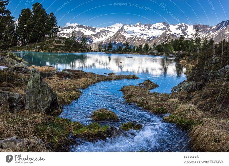 Zufluss am Berglisee Natur Landschaft Wasser Himmel Sommer Alpen Berge u. Gebirge See berglisee Flüssigkeit frei Glück Frühlingsgefühle träumen Fernweh Farbfoto