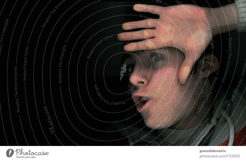 phil - scan me crazy maskulin Kopf Auge Mund Lippen 1 Mensch 18-30 Jahre Jugendliche Erwachsene Glas berühren Blick frech trashig verrückt Begierde skurril