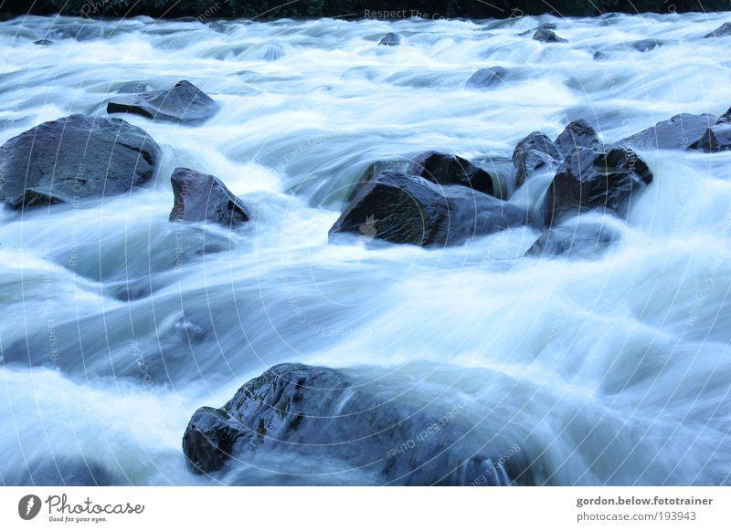 wilde Wasser Natur blau Wasser Pflanze Winter Umwelt Landschaft Bewegung Stein Wetter nass außergewöhnlich Geschwindigkeit Wandel & Veränderung bedrohlich Fluss