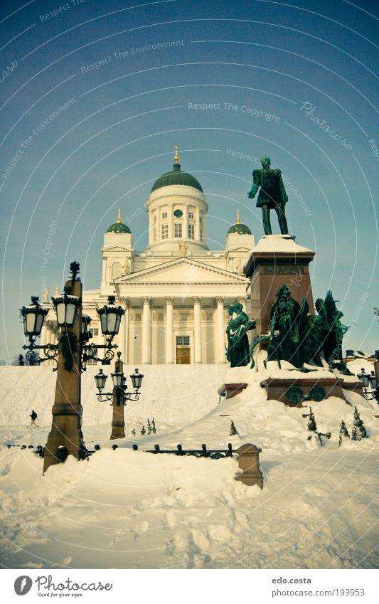 blau weiß Ferien & Urlaub & Reisen Winter Schnee Architektur Religion & Glaube träumen Kunst Ausflug Tourismus Kirche Europa Romantik Denkmal