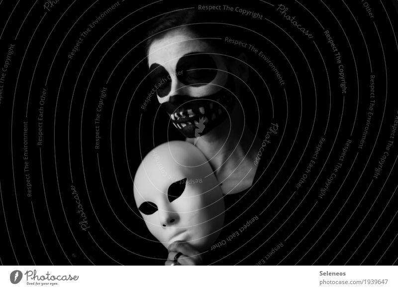 Maskenball Gesicht Kosmetik Schminke Mensch Kopf Auge Ohr Nase Mund 1 dunkel Traurigkeit Schmerz Einsamkeit Scham gefährlich Verzweiflung Nervosität verstört