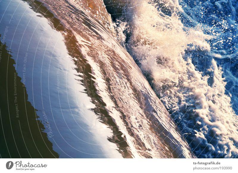Wildwasser I Urelemente Wasser Wellen Wasserfall Brandung Gischt Stromschnellen Abwasser wild blau braun weiß Leben Bewegung Umweltverschmutzung Umweltschutz