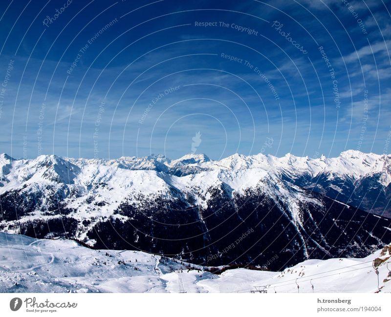Bergpanorama Verbier Himmel Natur blau weiß Winter schwarz Umwelt Landschaft Berge u. Gebirge Horizont ästhetisch Alpen Schönes Wetter Gipfel positiv Gletscher