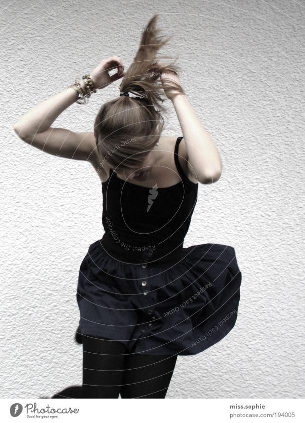 sometimes Tanzen feminin Junge Frau Jugendliche Haare & Frisuren Arme Rock brünett Zopf Bewegung Musik hören springen Fröhlichkeit Glück lustig Begeisterung