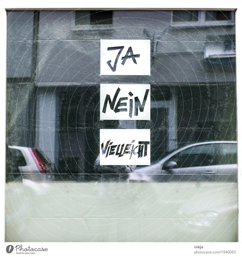 willst Du mit mir spazierengehen? Stadt Haus Fassade Fenster nein ja vielleicht Zeichen Schriftzeichen Schilder & Markierungen Gefühle Vorsicht Wahrheit