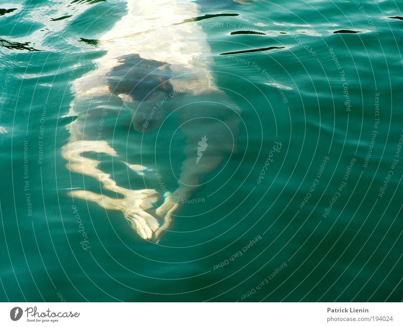 Abkühlung Mann Wasser Hand grün Sommer Sport Wärme See Schwimmen & Baden maskulin heiß sportlich Erfrischung sanft Vulkan gleiten