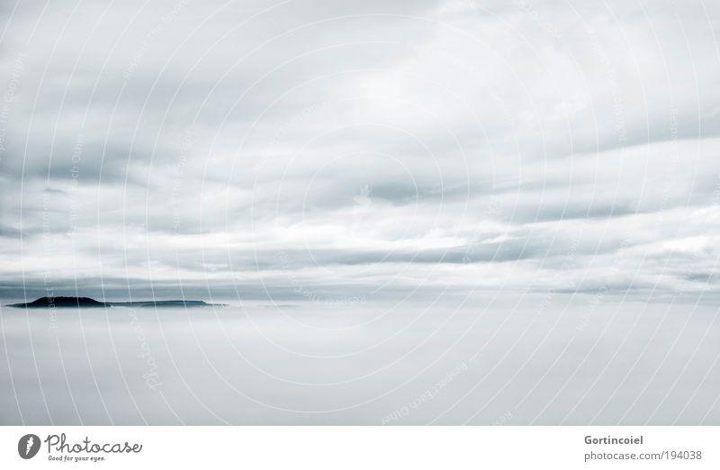 Nebel Himmel weiß Winter Wolken Ferne kalt Berge u. Gebirge Freiheit Landschaft Luft hell Wind Wetter Horizont Klima