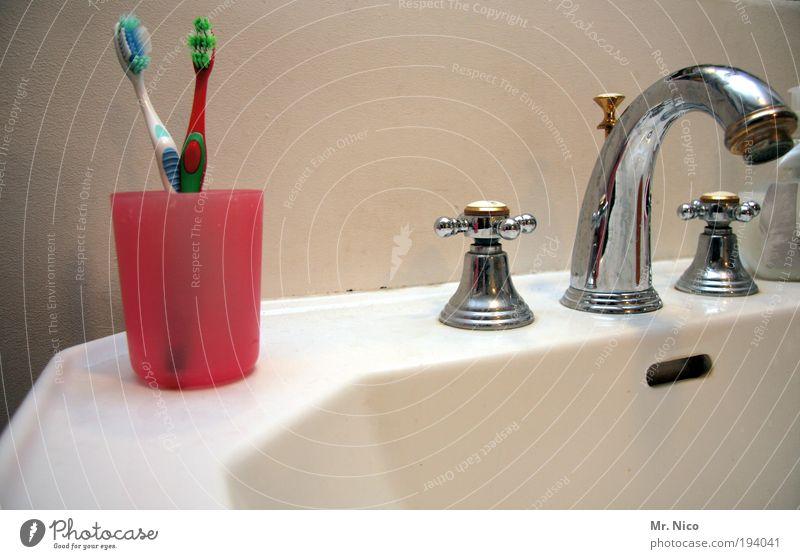 morgens / abends kalt Wärme Zusammensein paarweise Bad Sauberkeit Reinigen Partnerschaft Körperpflege Becher Waschbecken Wasserhahn Raum Chrom Zahnbürste
