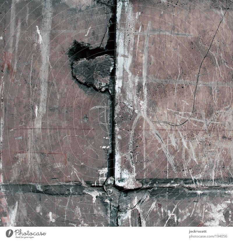 Herz Aus Stein Wand Mauer Linie einfach Streifen kaputt Wandel & Veränderung Zeichen Sehnsucht Spuren Teile u. Stücke entdecken Leidenschaft anstrengen