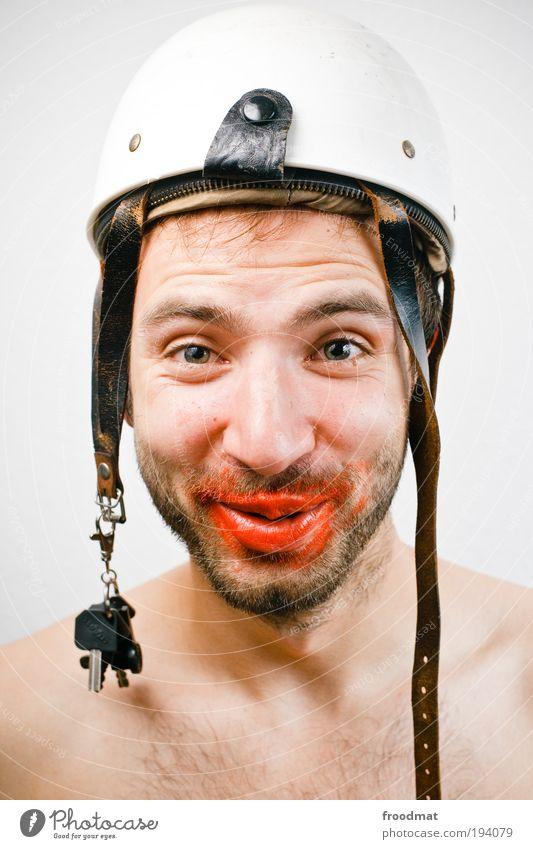 blumenkavalier Mensch Freude Gesicht Glück lachen Zufriedenheit dreckig maskulin Fröhlichkeit außergewöhnlich Sicherheit retro Schutz Lächeln Küssen Bart