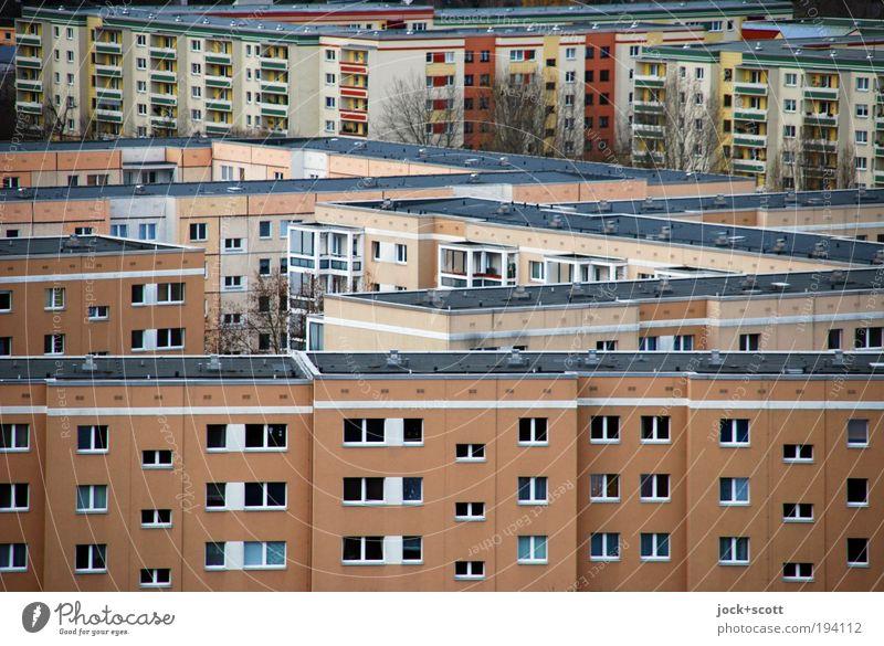 ordentlich schöner wohnen im Wohnblock Winter Stadtrand Plattenbau Fassade Flachdach authentisch eckig kalt modern trist Zusammensein Ordnungsliebe komplex