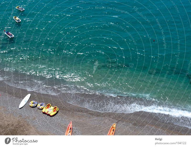 Wassersport Freizeit & Hobby Ferien & Urlaub & Reisen Sommer Sommerurlaub Strand Meer Jet-Ski Kanu Umwelt Natur Sand Schönes Wetter Wellen Küste blau Farbfoto