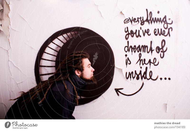 YOU'VE EVER DREAMT OF Mensch Jugendliche Erwachsene dunkel Wand Graffiti Gebäude Mauer Zufriedenheit warten maskulin Schriftzeichen außergewöhnlich einzigartig Wunsch
