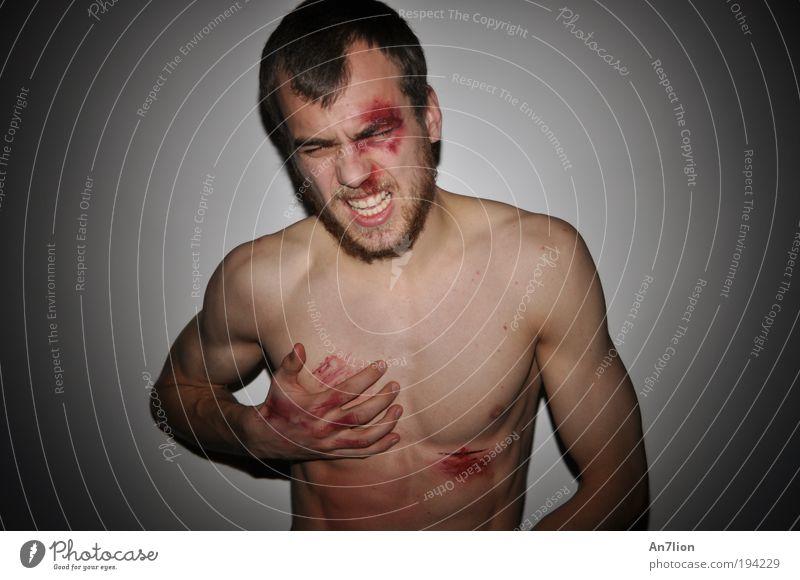 Hängen und Bängen Mensch Jugendliche Kopf Mann Brust Gewalt Schmerz Bart kämpfen Oberkörper Porträt Gefühle Aktion Rache Junger Mann